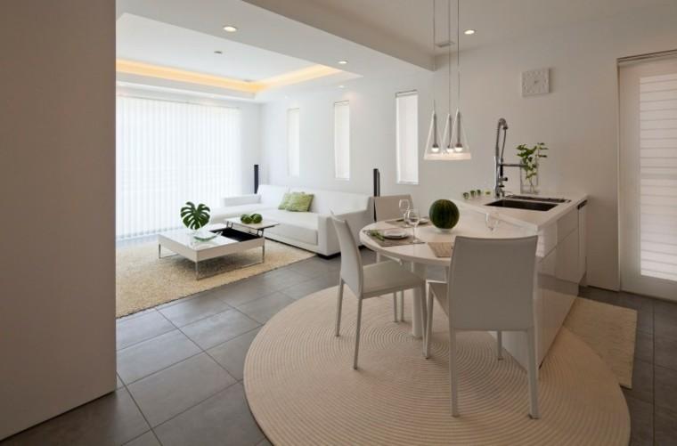 decoración de salones pequenos esilo zen muebles blancos ideas