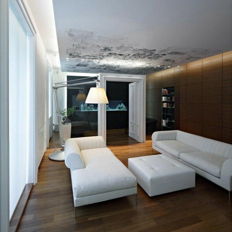 decoración de salones pequeños muebles blancos pared genial ideas
