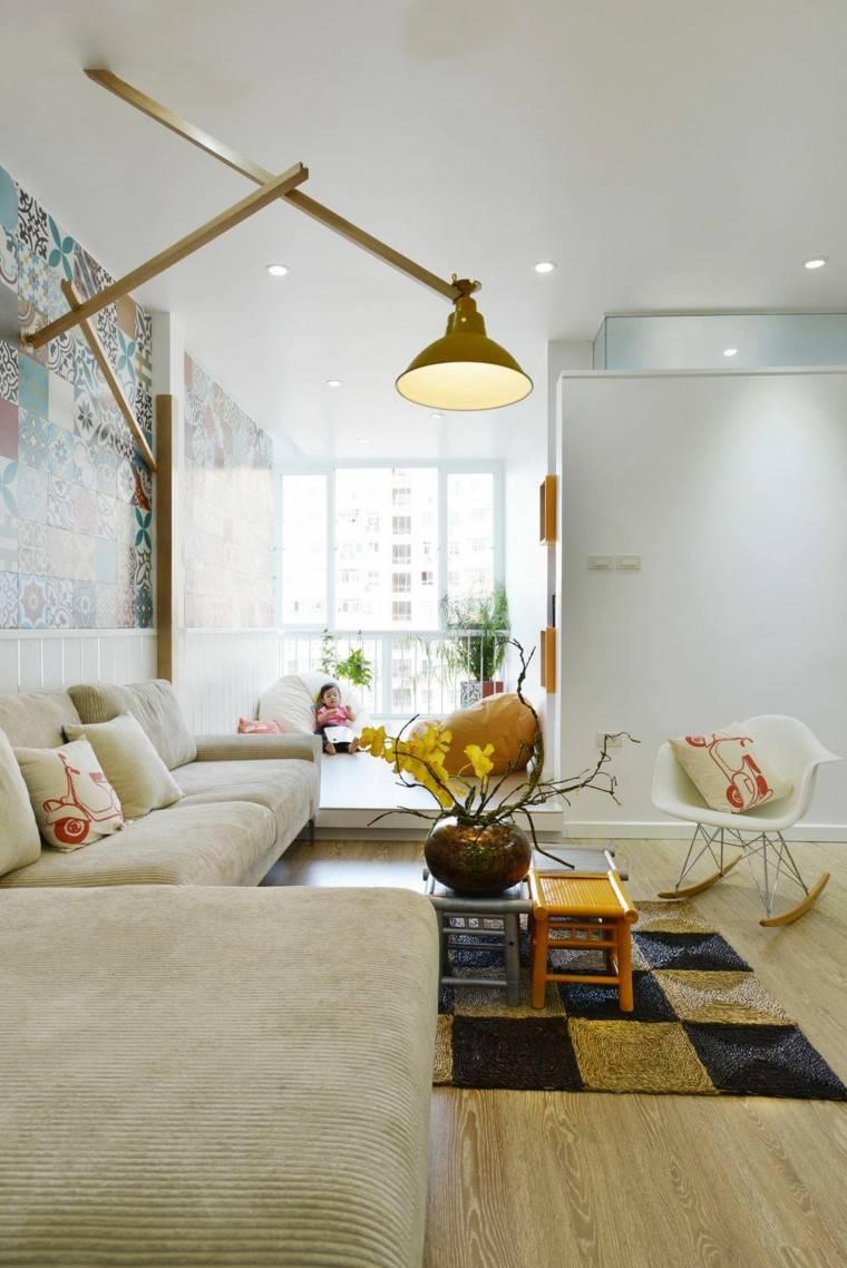 decoración de salones pequeños paredes losas colores mesas interesantes ideas