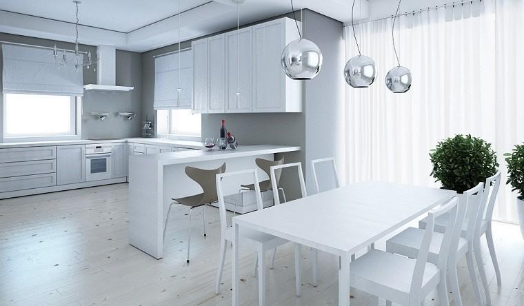 Decoración en blanco con muebles elegantes de diseño -