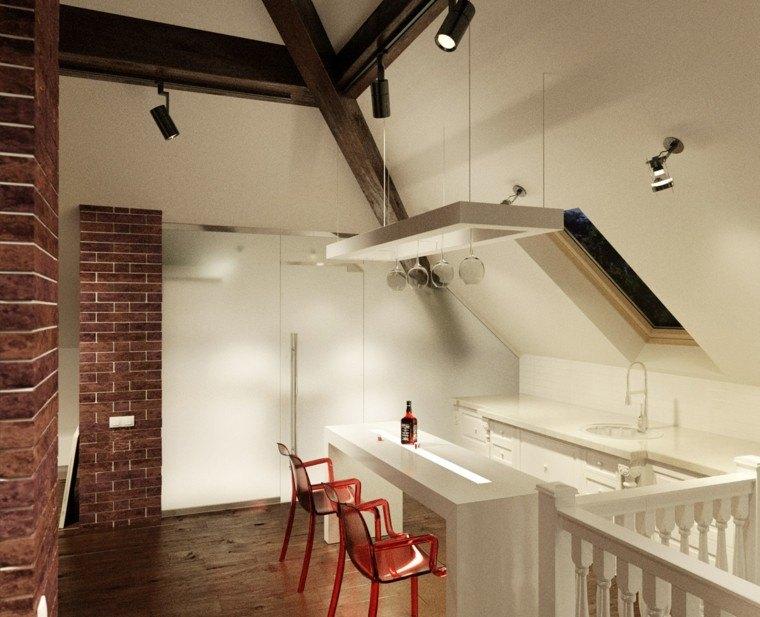 decoración en blanco isla cocina iluminada ideas