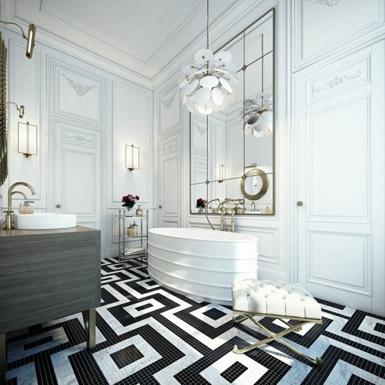 decoración en blanco lampara taburete bano lujo ideas