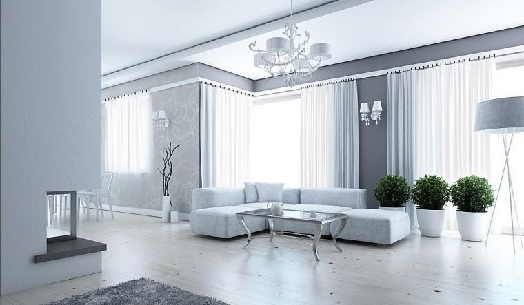 decoración en blanco macetas jarrones salon ideas