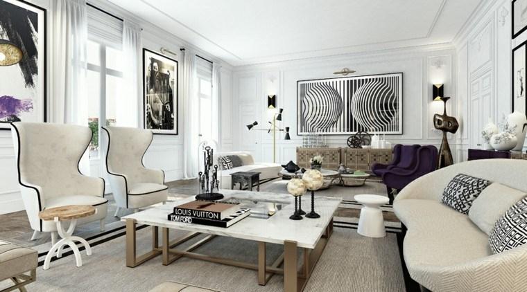 decoración en blanco negro muebles paredes ideas