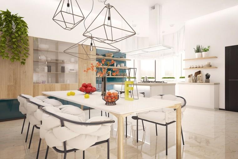 decoración en blanco sillas mesa preciosas comedor ideas