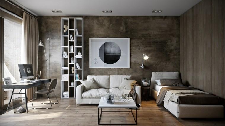 decoración en blanco sofa mesa estanteria ideas