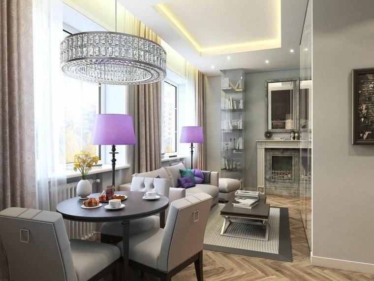 decoracion espacio pequeno estilo clasico lamparas purpura ideas