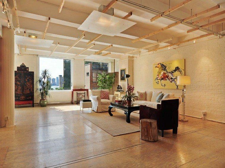 decoración loft amplio abierto cuadro pared ideas