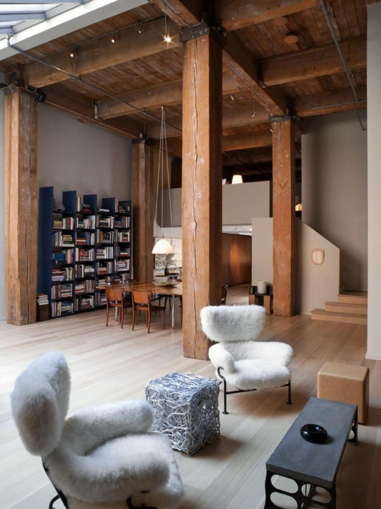 decoración loft amplio abierto estanterias libros ideas