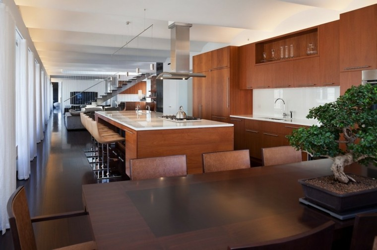 decoracion loft amplio abierto isla madera cocina ideas