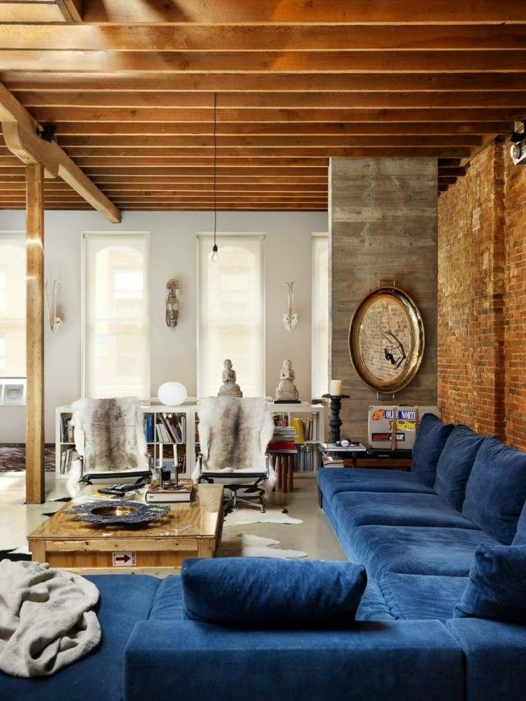 decoración loft amplio abierto sofa azul ideas