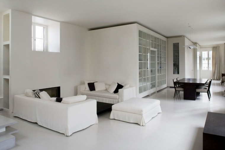 decoración loft amplio abierto sofas blancas ideas