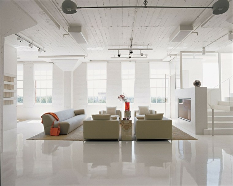 decoracin loft amplio abierto suelo pared blanco ideas