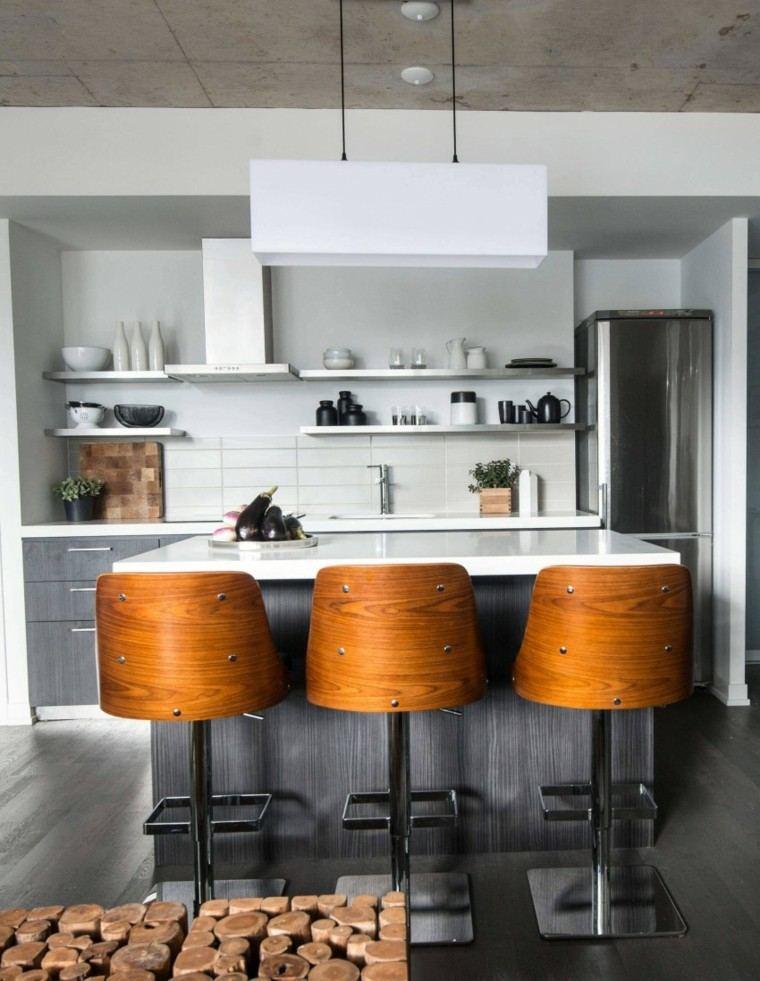 decoracion loft cocina estantes blancos sillas madera ideas