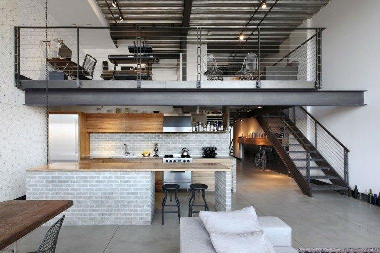 decoración loft escaleras cocina isla encimeras madera ideas