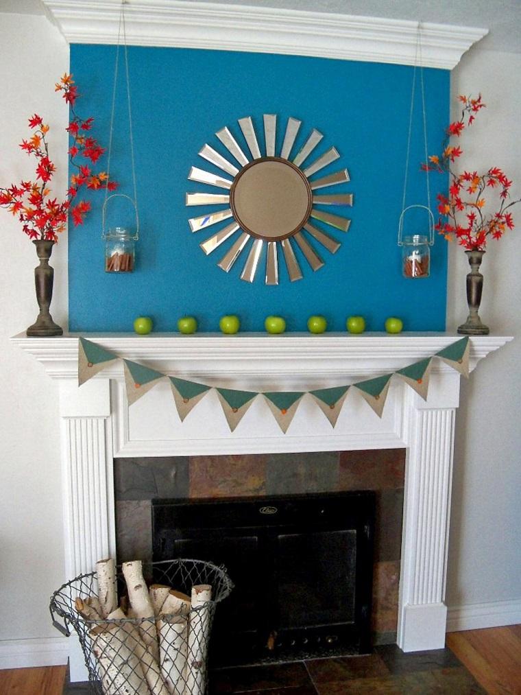 decoraciones chimenea manzanas jarones ramas ideas
