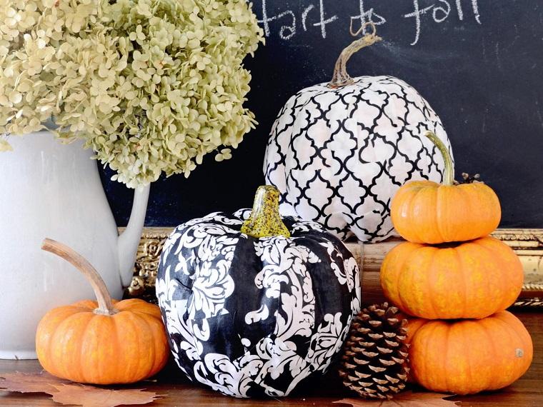 decoraciones otono calabazas pintadas blanco negro ideas