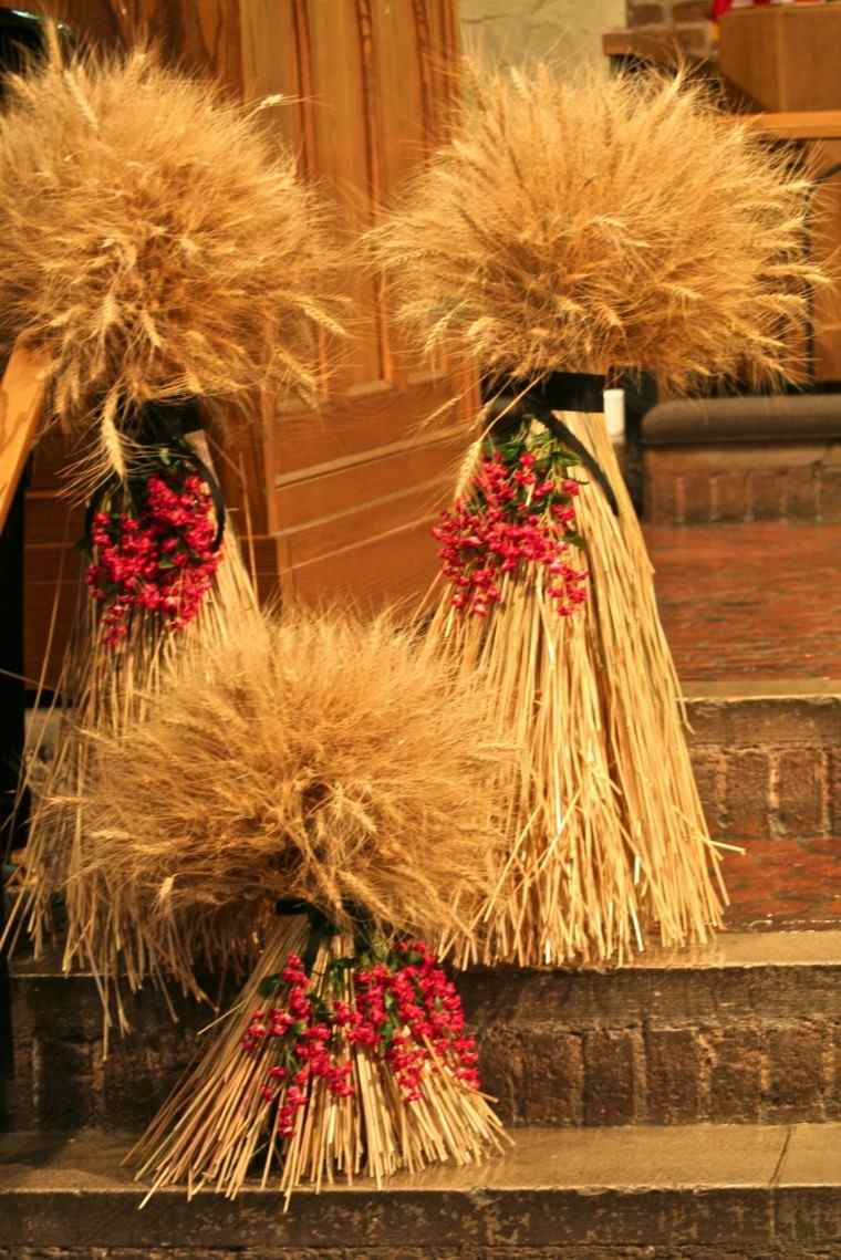decoraciones otono entrada casa hierba seca ideas