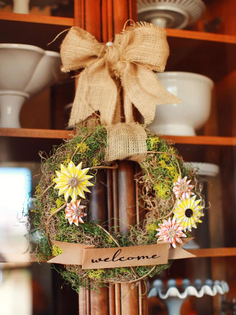 decoraciones otono entrada casa pequeno guirnalda ideas