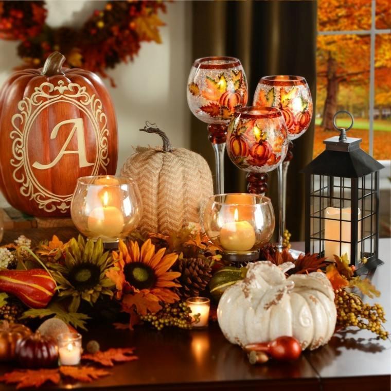 decoraciones otono mesa flores velas calavazas ideas