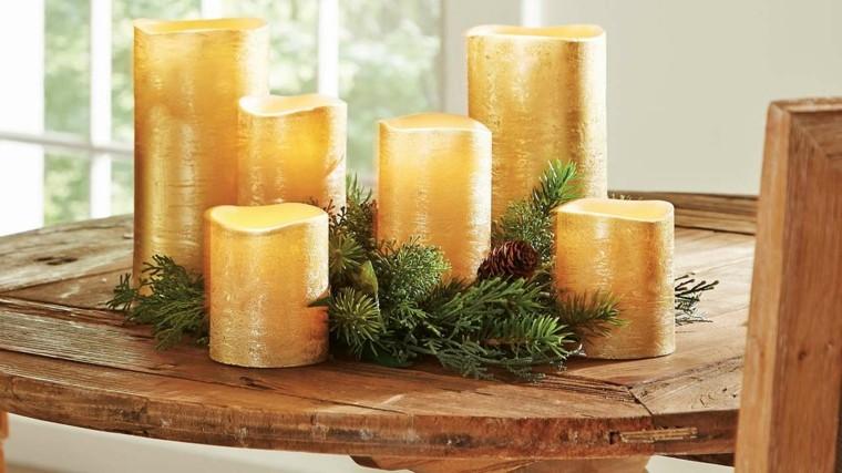 decoraciones otono mesa iluminada velas grandes ideas