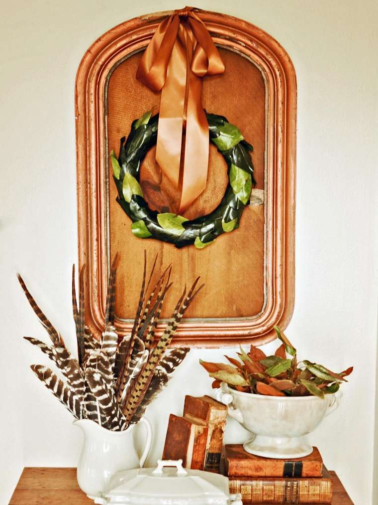 decoraciones otono plumas pajaros hojas ideas