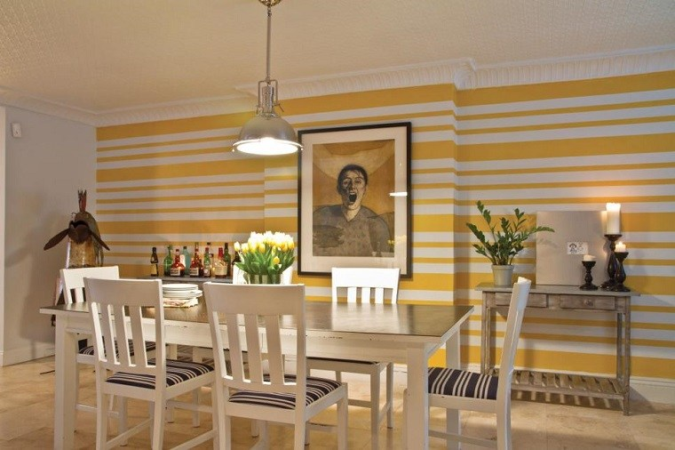 decorar con cuadros comedor cuadro interesante pared amarillo ideas