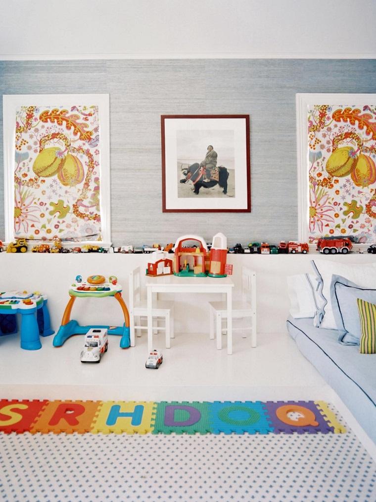 decorar con cuadros pared habitacion ninos moderna ideas