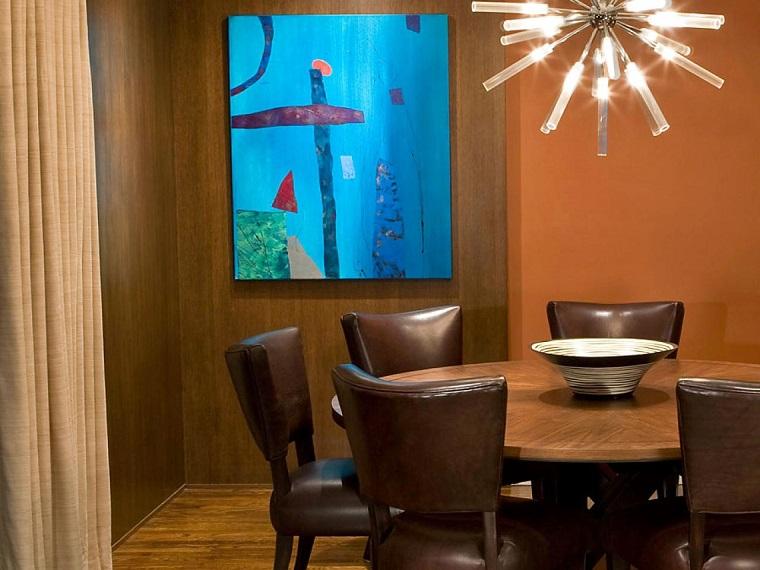 decorar con cuadros salon cuadro azul llamativo arte ideas