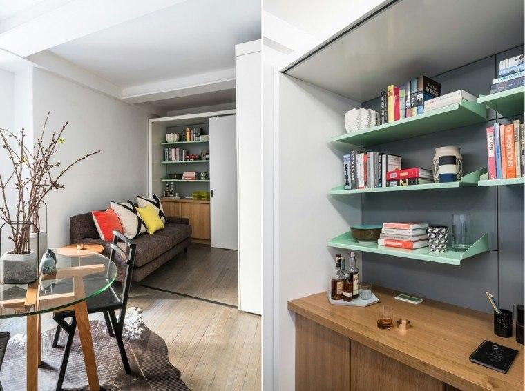 decorar espacios pequenos estanterias mesa cristal ideas