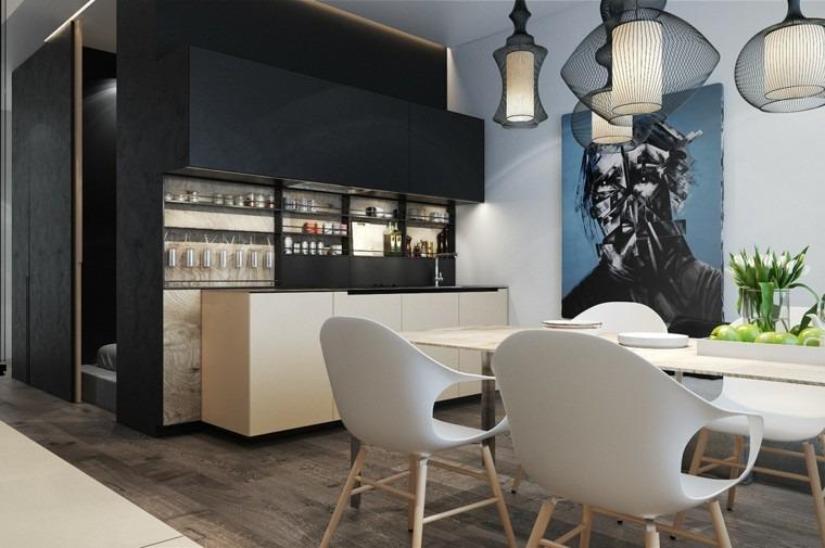 decorar espacios pequenos lamparas preciosas muebles negros ideas