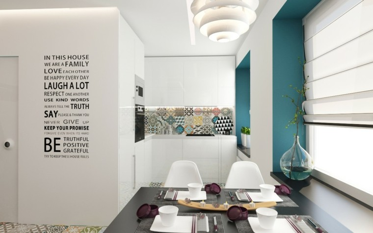 decorar espacios pequenos losas pared cocina ideas