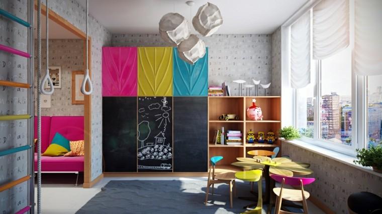 habitaciones infantiles nina armario pared ideas