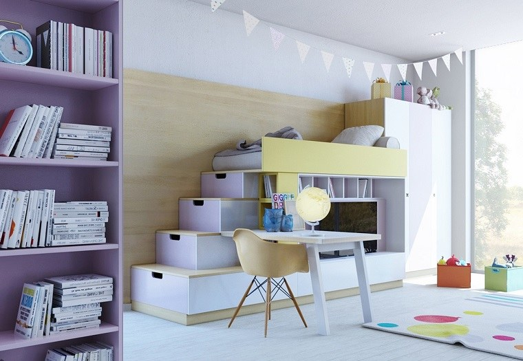 habitaciones infantiles nina color purpura ideas