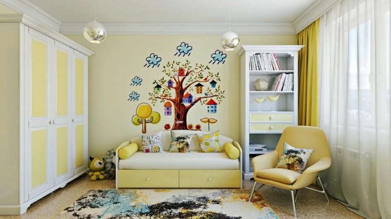 habitaciones infantiles niña dibujo pared bonito ideas