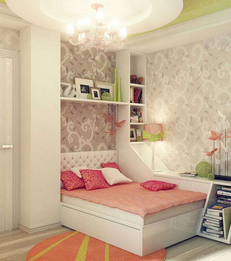 habitaciones infantiles niña papel pared ideas
