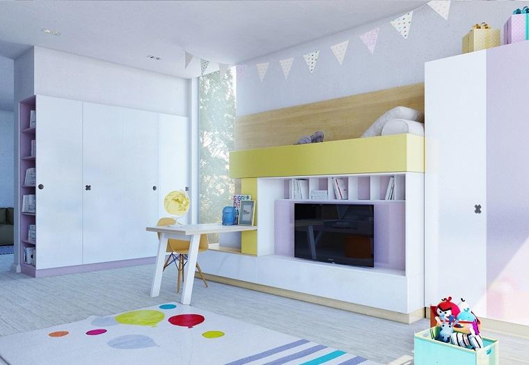 habitaciones infantiles niña televisor grande ideas