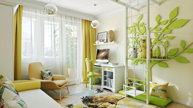 habitaciones infantiles niña verde preciosa ideas