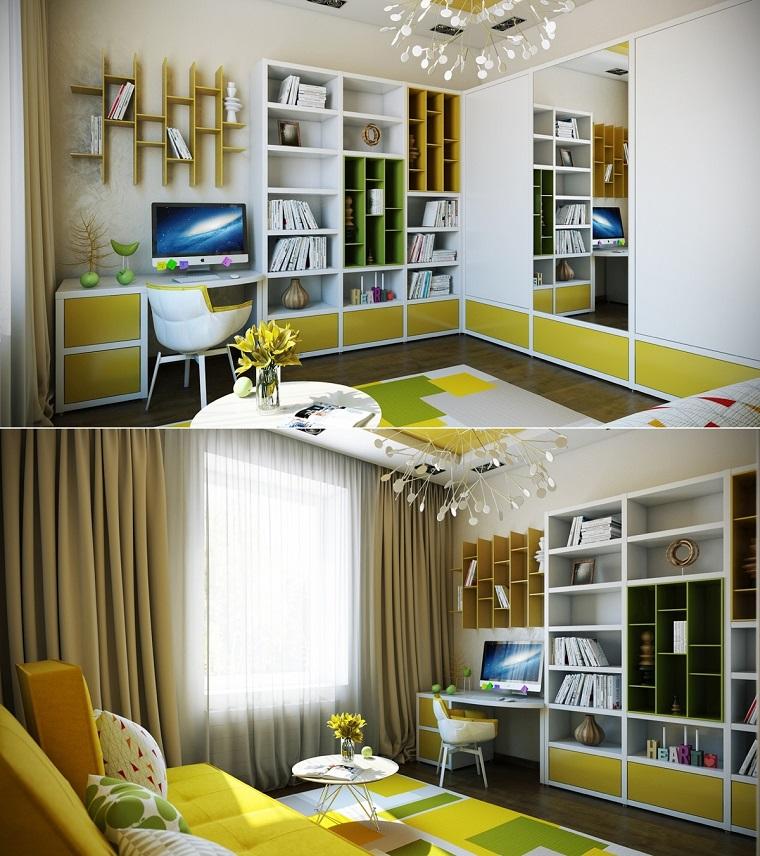 habitaciones niña amarillo estanterias mesita ideas