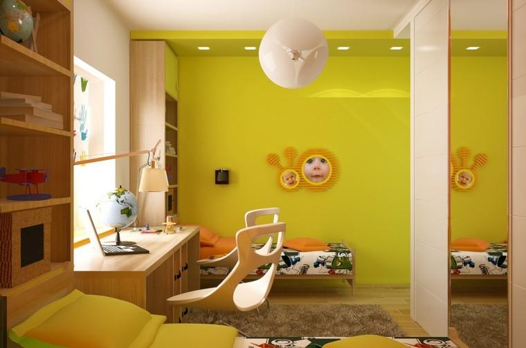 decorar habitaciones nina escritorio paredes amarillas modernas