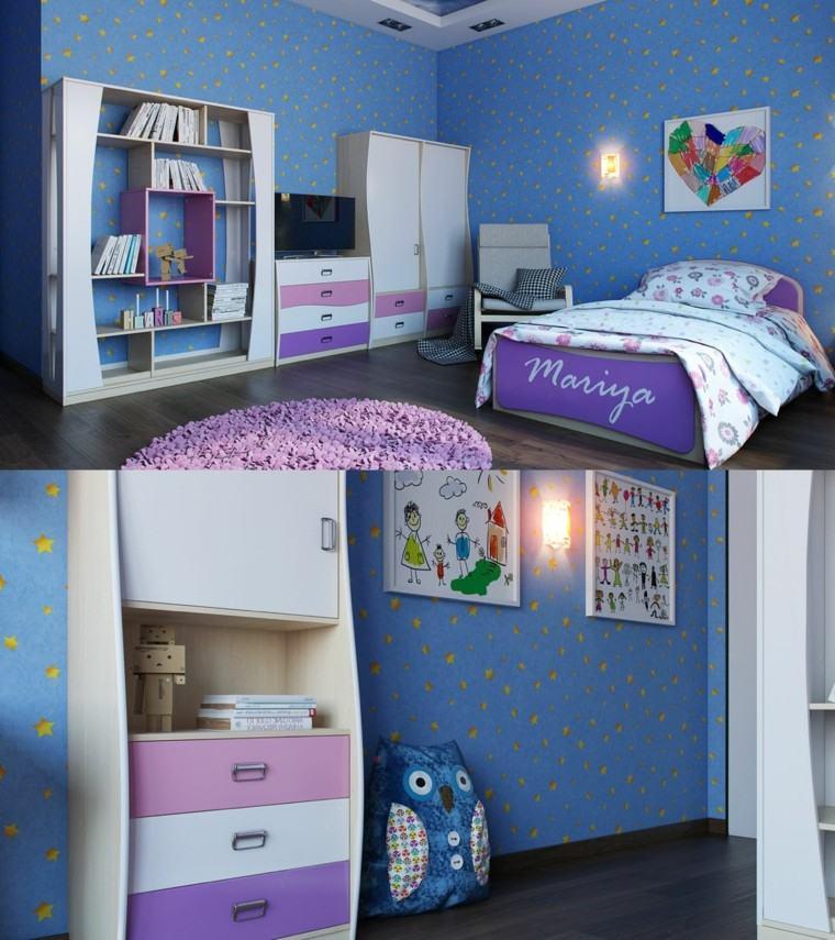 decorar habitaciones niña azul purpura cama ideas