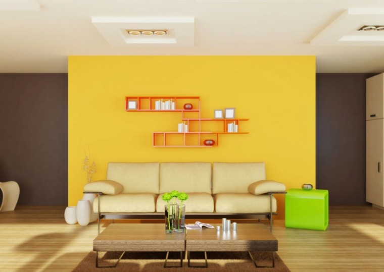 decorar interiores colores intensos amarillos