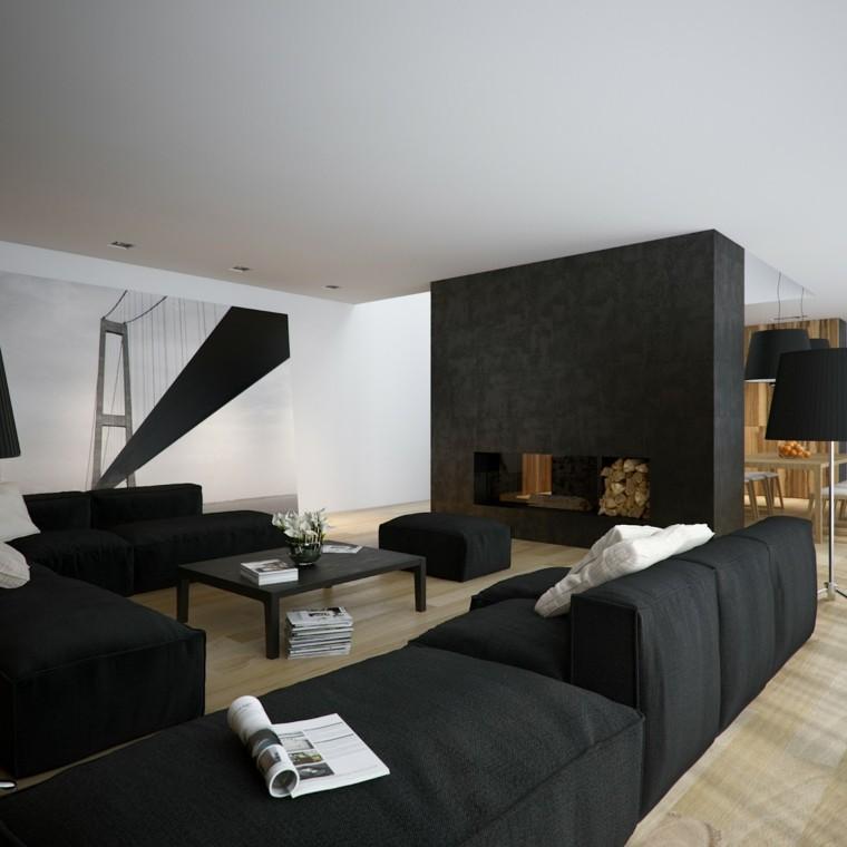 ideas paradecorar una casa  salones muebles negros