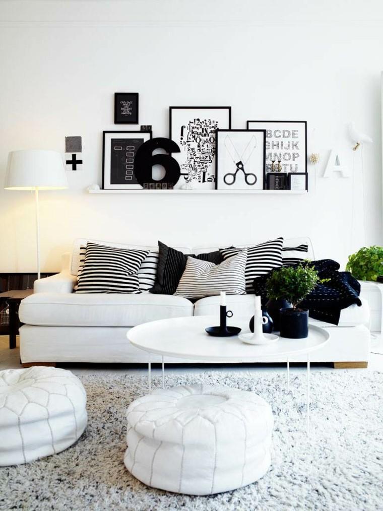decorar salones colores blanco negro