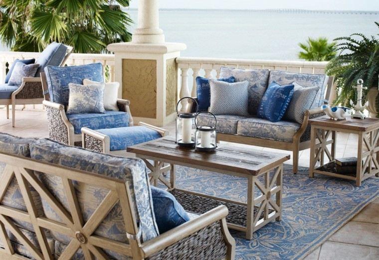 decorar terrazas pequeñas alfombra candelabros ideas