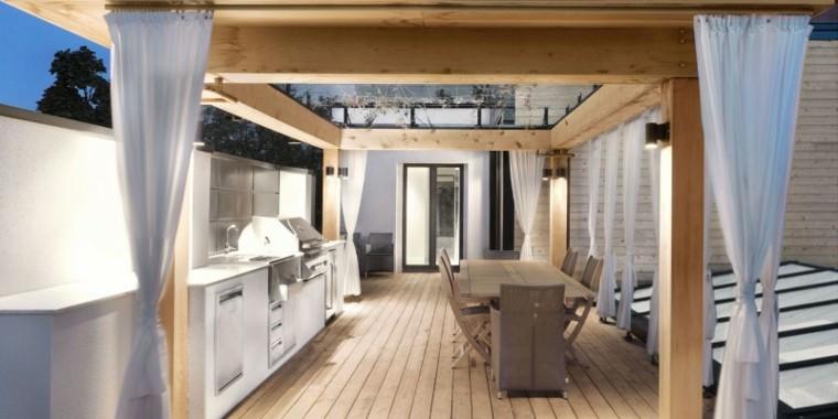 decorar terrazas pequeñas pergola madera cocina exterior ideas
