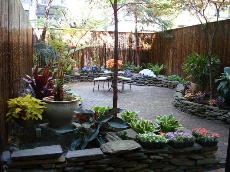 decorar terrazas pequeñas valla alta bambu ideas