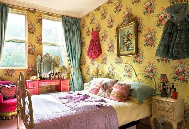 deocracion dormitorio vintage vestidos pared