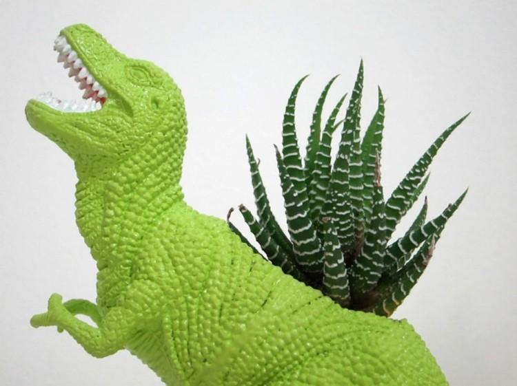 dinosaurio color verde macetero rex