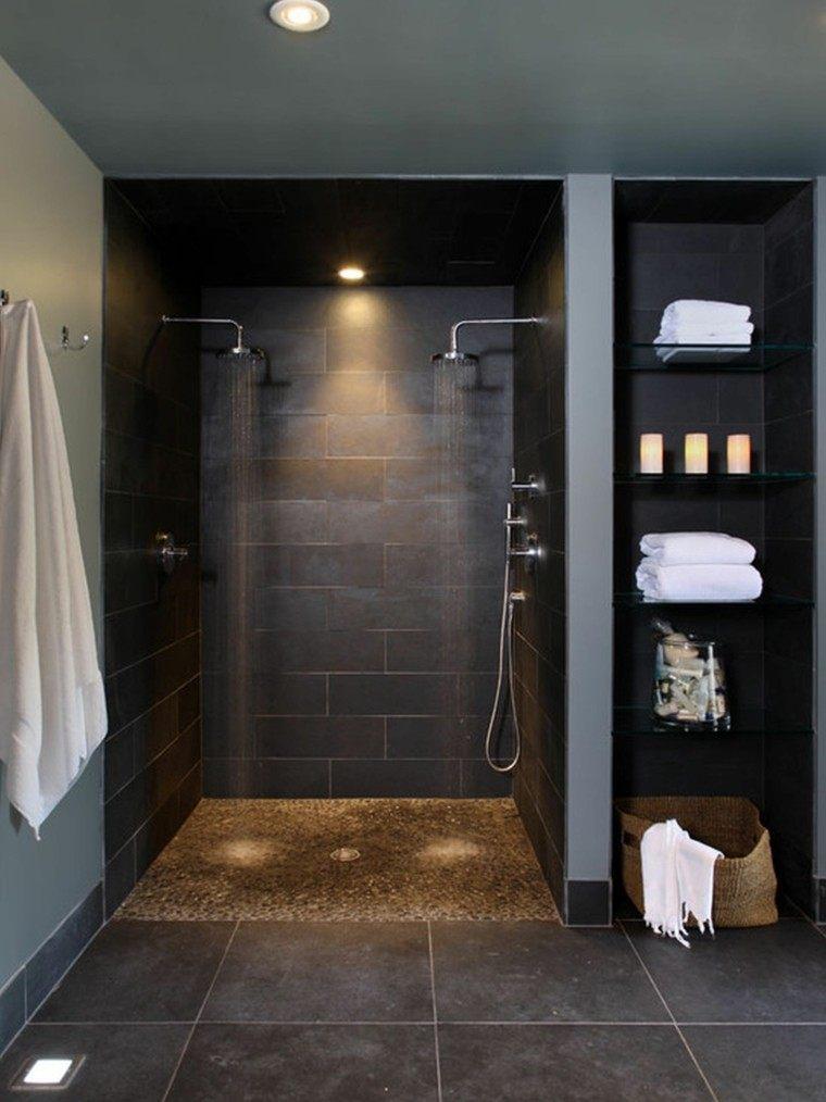 diseño baño estilo moderno negro